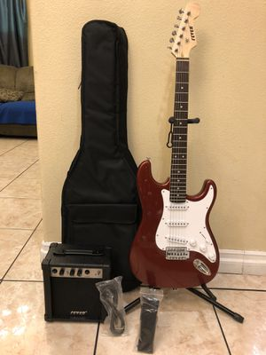 Fever electric guitar package come with amplifier soft case strap and cable for Sale in South Gate, CA