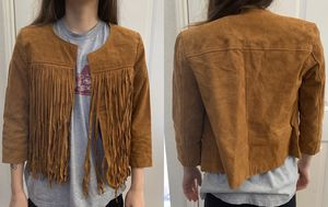 Like new juniors size small leather fringe jacket for Sale in Plano, TX