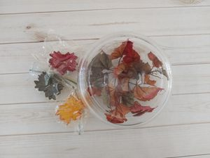 Glass floating candle bowl with fall leaves & fall leaf candles for Sale in Taunton, MA