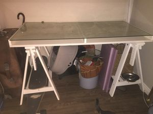 Modern White Wood Desk with Glass Top for Sale in San Diego, CA