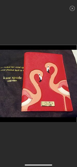 KATE SPADE TAKE A WALK ON THE WILD SIDE FLAMINGO PASSPORT WALLET CASE for Sale in Queens, NY