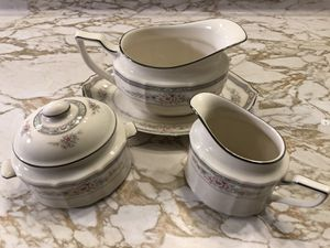 Noritake Ivory China Rothschild 7293 Set Gravy Boat Plate Creamer Sugar Bowl Lid for Sale in Livermore, CA