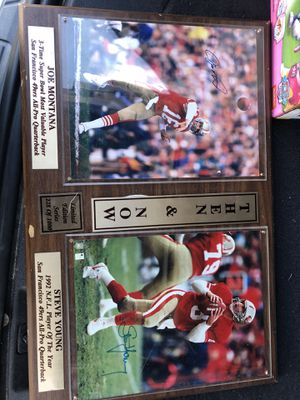 Signed Joe Montana and Steve Young Plaque for Sale in Modesto, CA