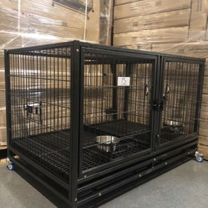 Brand new double door HD dog kennel cage🐕🦺 w/ PLASTIC FLOOR, plastic trays, wheels, removable divider🦾 see dimensions in second picture for Sale in Chandler, AZ