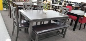 Grey wooden table set new for Sale in Los Angeles, CA