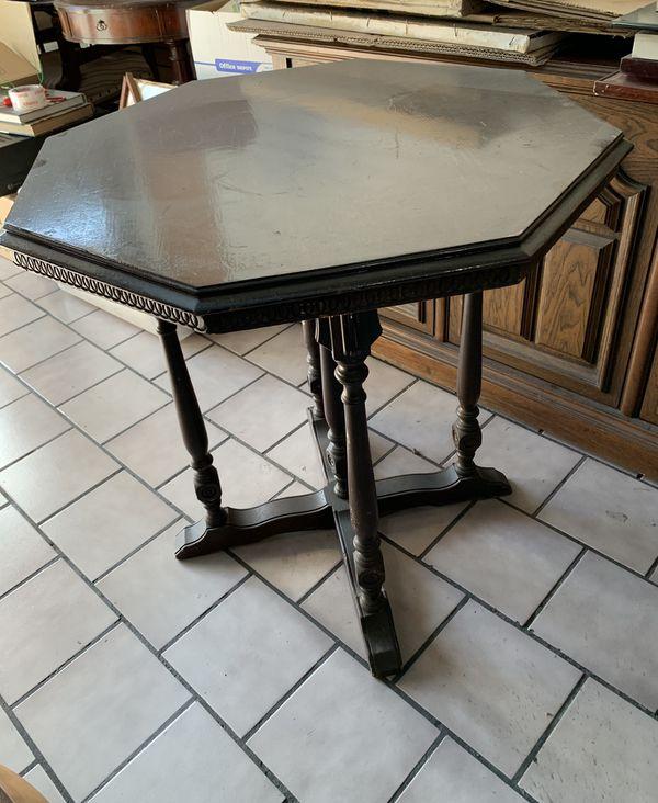 Antique Octagon Table, Espresso Brown Color