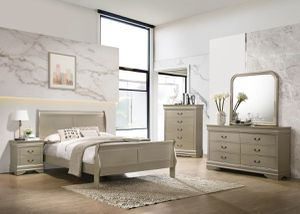 Gold queen bedroom set - bed, dresser, mirror, nightstand    SAME DAY DELIVERY 🚚 for Sale in Rosenberg, TX