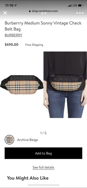 Authentic Burberry vintage check belt bag- new w/o tags for Sale in Los Angeles, CA