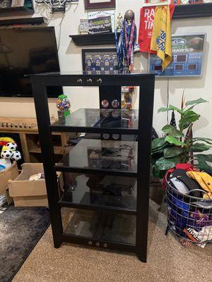 Tv entertainment center glass shelves for Sale in Menifee, CA