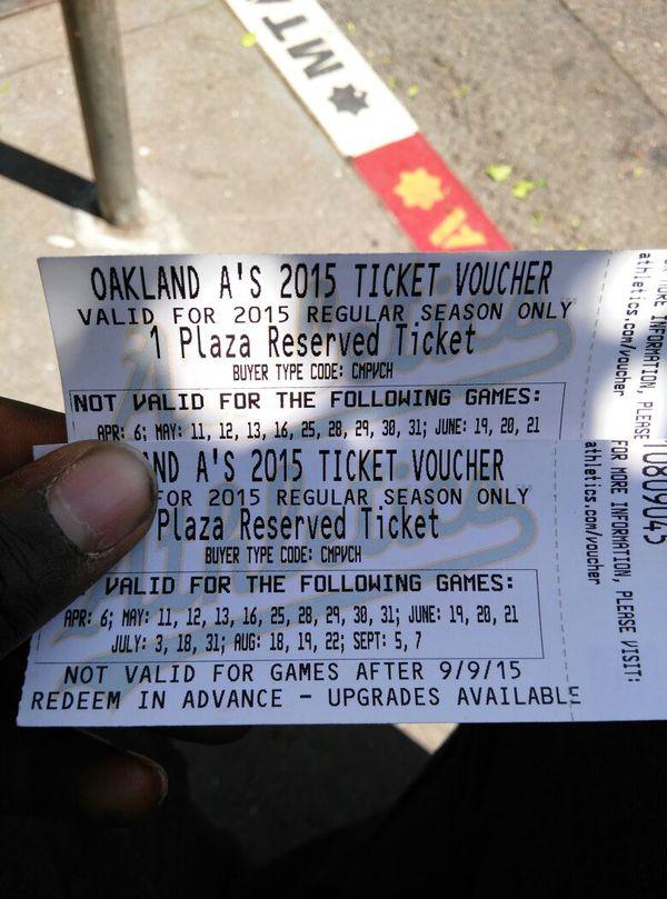 2 vouchers to Oakland athletics game redeem voucher for free tickets
