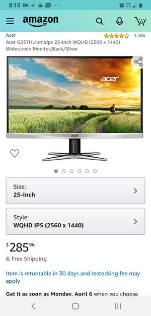 ACER (WQHD) Computer MONITOR for Sale in Seattle, WA