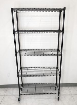 "New in box $70 Metal 5-Shelf Shelving Storage Unit Wire Organizer Rack Adjustable w/ Wheel Casters 36x14x74"" for Sale in Pico Rivera, CA"