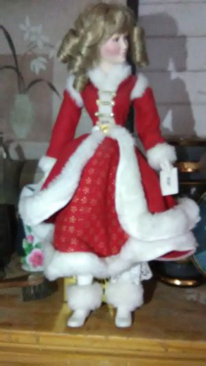 vintage doll christmas dress she has on with santa claus golfing for Sale in Phoenix, AZ