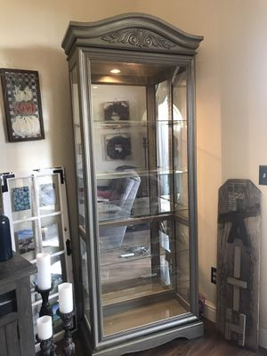 Lighted Curio Cabinet with glass shelves for Sale in Fresno, CA