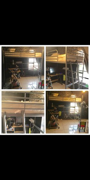 Bed loft bed for adults and kids holds 230 lbs u can put desk office on bottom or futon etc selling $100 firm. Its alredy dissabled for Sale in Miami, FL