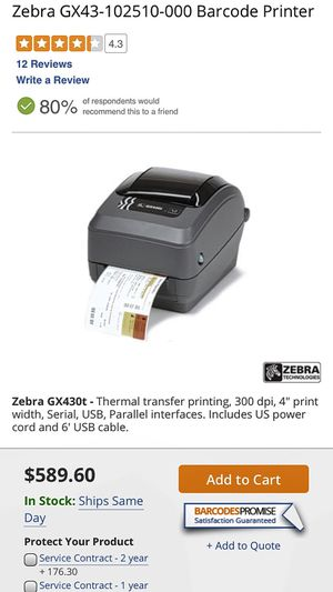 The Zebra GX43-102512-150 Thermal Transfer printers pair the fastest print speeds with the most complete feature set of the Zebra desktop printer ... for Sale in Hacienda Heights, CA