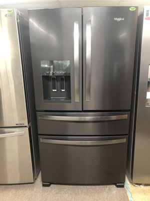 NEW WHIRPOOL BLACKSTAINLESS FOUR DOORS REFRIGERATOR $39 down for Sale in Houston, TX