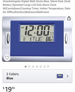 Digital Wall Clocks Blue, Silent Desk Clock Battery Operated Large LCD Kids Alarm Clock W/Countdown/Countup Timer, Indoor Temperature, Date for Offic for Sale in San Antonio, TX