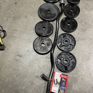 Curl Bar With Weights for Sale in Lake Stevens, WA
