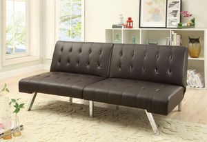 POUNDEX F6823 ESPRESSO FAUX LEATHER FUTON ADJUSTABLE SOFA BED for Sale in Fresno, CA
