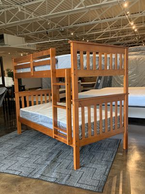Twin over twin bunk bed plus mattress (Free Delivery) for Sale in Austin, TX