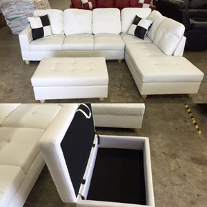 New sofa white leatherette in box unopened unused sealed box with pillows and ottoman DELIVERY AVAILABLE ALL AREAS for Sale in Portland, OR