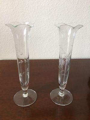 Vintage Etched Crystal Bud Vases for Sale in Winter Garden, FL