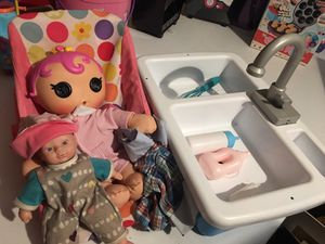 Baby Dolls and play sink for kids for Sale in Las Vegas, NV