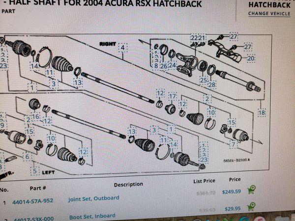 Rsx type s halfshaft