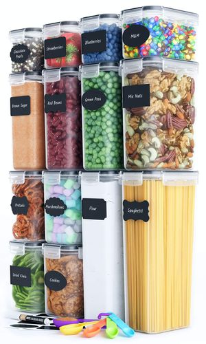 Airtight Food Storage Container Set - 14 PC, Labels, Marker & Spoon Set for Sale in Beaumont, CA