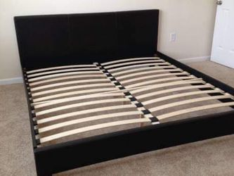(New In Boxes) King Size Black Faux-Leather Bed Frame for Sale in Chamblee,  GA
