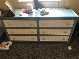 Blue/White Glass-top Whicker Dresser for Sale in Knoxville, TN