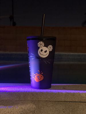 matte black Starbucks cup minnie mickey nightmare before Christmas Halloween cup for Sale in Whittier, CA