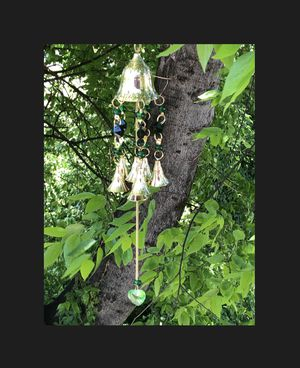 Chakra Colored Translucent Deep Green Beads & Brass Bells Wind Chime Sun Catcher Mobile for Sale in Nashville, TN