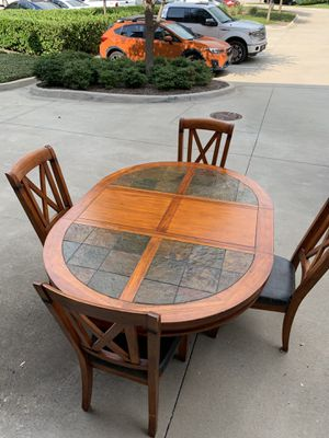 Beautiful tile oval table with four cushioned chairs. $215 OBO for Sale in Plano, TX