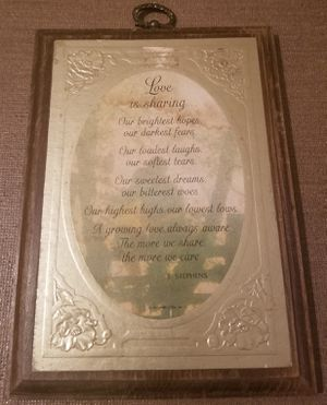 Vintage Hallmark Love is Sharing wood plaque for Sale in Three Rivers, MI