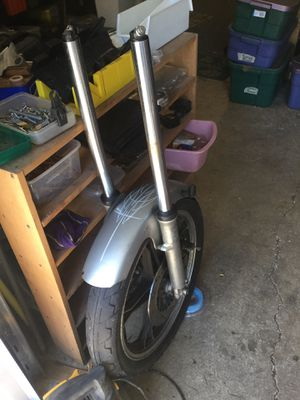 Suzuki Motorcycle Front End Forks and Wheel/Tire for Sale in Portland, OR