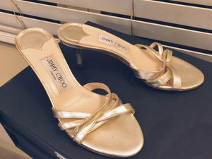 Jimmy Choo Gold Metallic Leather Sandals 35.5 for Sale in Needham, MA