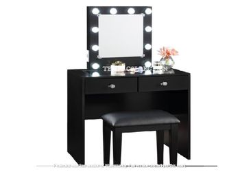 New, BLACK, Makeup Vanity With 10 lights and USB and Power Outlet and Stool, SKU#HM7878WH for Sale in Westminster,  CA