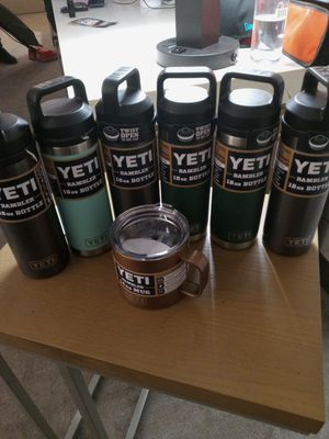 Lot of 6 Yeti Ramblers 18oz and 1 cup 12 oZ for Sale in Garden Grove, CA