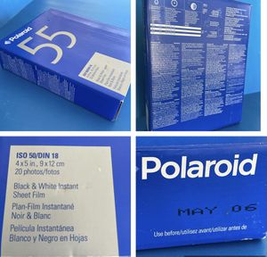 New Sealed Box if POLAROID Type 55 Black and White Instant Sheet Film. Exp 05/06 for Sale in Redlands, CA