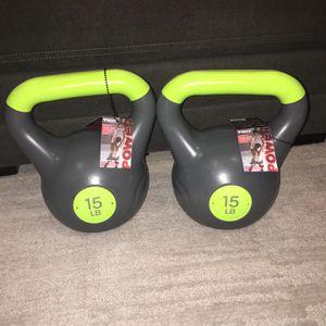 (2) 15lb Kettlebells (NEW) for Sale in Fresno, CA