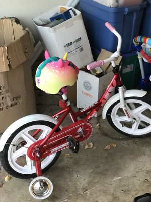 Kids bike with training wheels and helmet for Sale in Bowie, MD