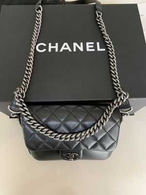 Black Chanel Flap Bag w/ Ruthenium Chain for Sale in Houston, TX