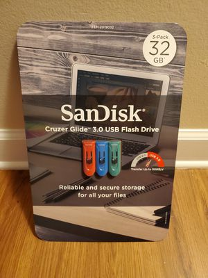 SanDisk Cruzer Glide USB 3.0 32GB Flash Drive, 3-pack for Sale in Arlington Heights, IL