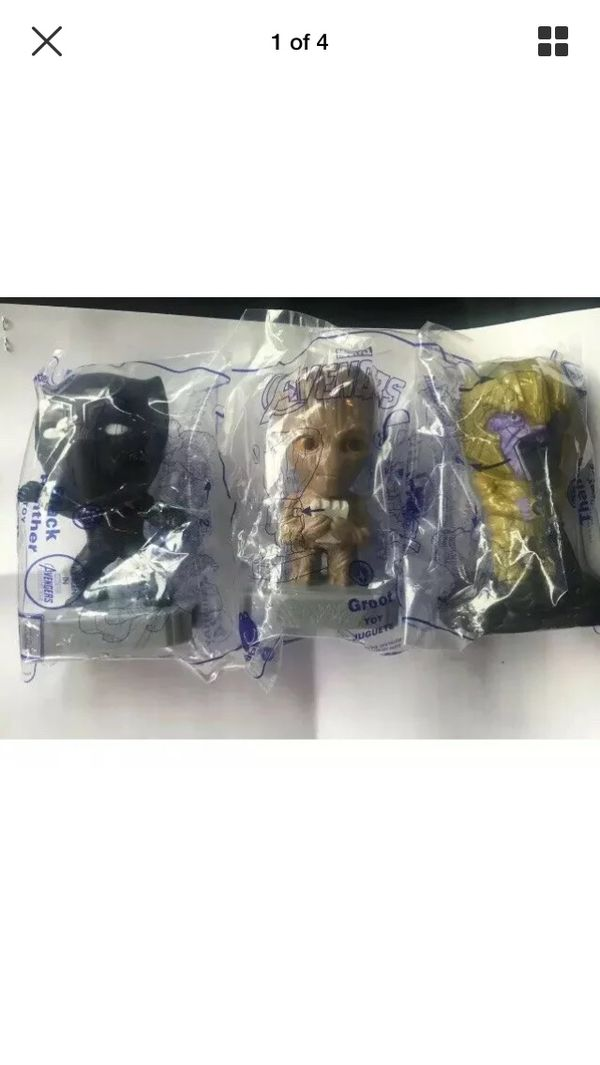 Marvel avengers Groots Black panther and Thanos