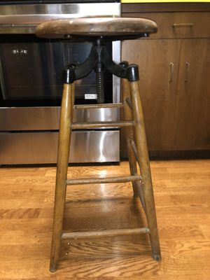 Beautiful industrial antique turn of the century wood and cast iron stool for Sale in Bellevue, WA