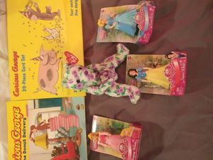 Snow White/sleeping beauty/Cinderella new figurines w/ curious George book and cards for Sale in Glastonbury, CT