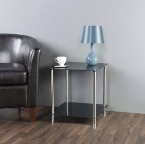 Black Glass 2 Tier Square Side Table for Sale in Hyattsville, MD