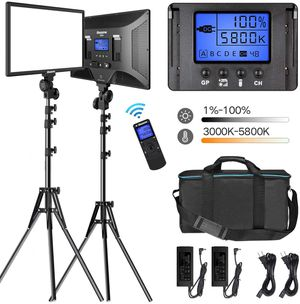 "LED Video Lighting Kit with Wireless Remote Dazzne D50 Dimmable Bi-Color 15.4"" LED Panel Light Stand for Sale in Weymouth, MA"
